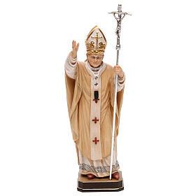 Statues en bois peint: Pape Jean-Paul II avec mitre peint bois érable Val Gardena