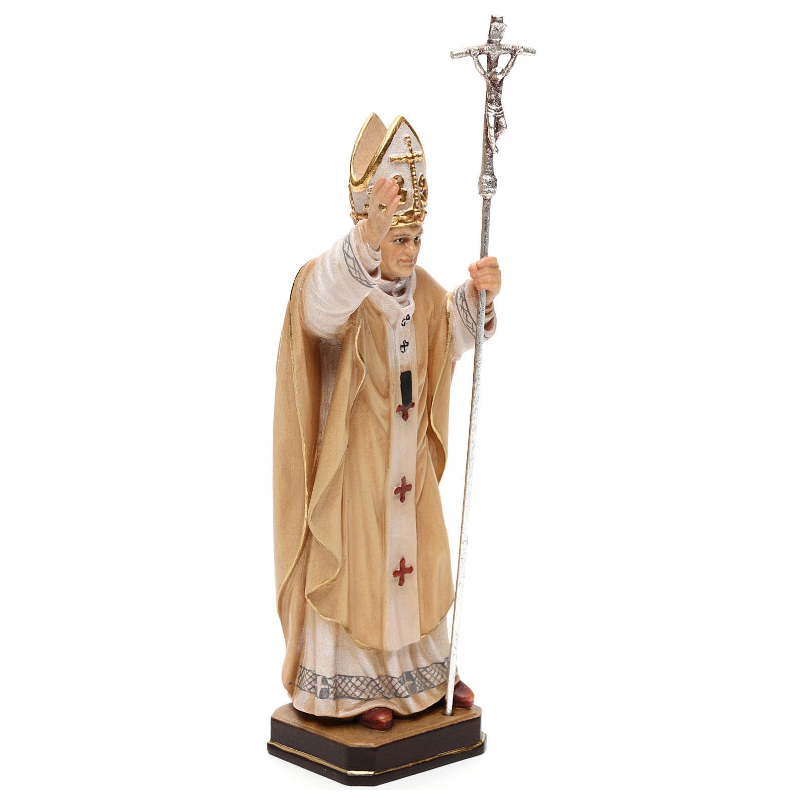 Papa Giovanni Paolo II con mitria dipinto legno acero Valgardena 4