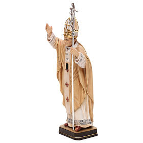 Papa Giovanni Paolo II con mitria dipinto legno acero Valgardena s3