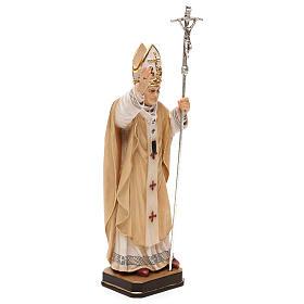 Papa Giovanni Paolo II con mitria dipinto legno acero Valgardena s4