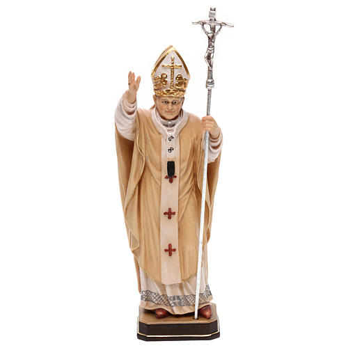 Papa Giovanni Paolo II con mitria dipinto legno acero Valgardena 1