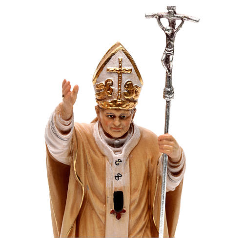 Papa Giovanni Paolo II con mitria dipinto legno acero Valgardena 2