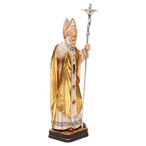 Papa Juan Pablo II con mitra pintado capa oro madera Val Gardena 4