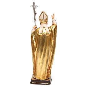 Papa Giovanni Paolo II con mitria dipinto manto oro legno Valgardena s5