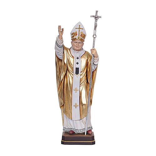 Papa Giovanni Paolo II con mitria dipinto manto oro legno Valgardena 1