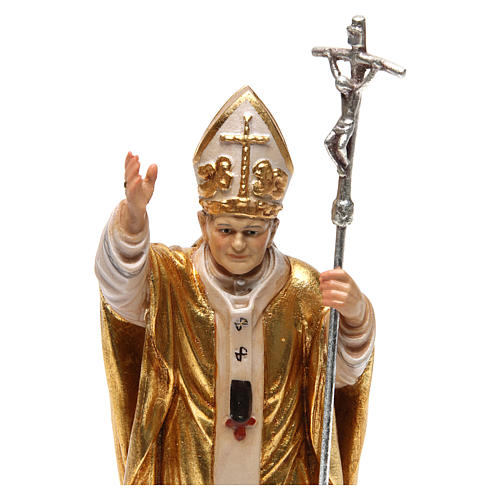 Papa Giovanni Paolo II con mitria dipinto manto oro legno Valgardena 2