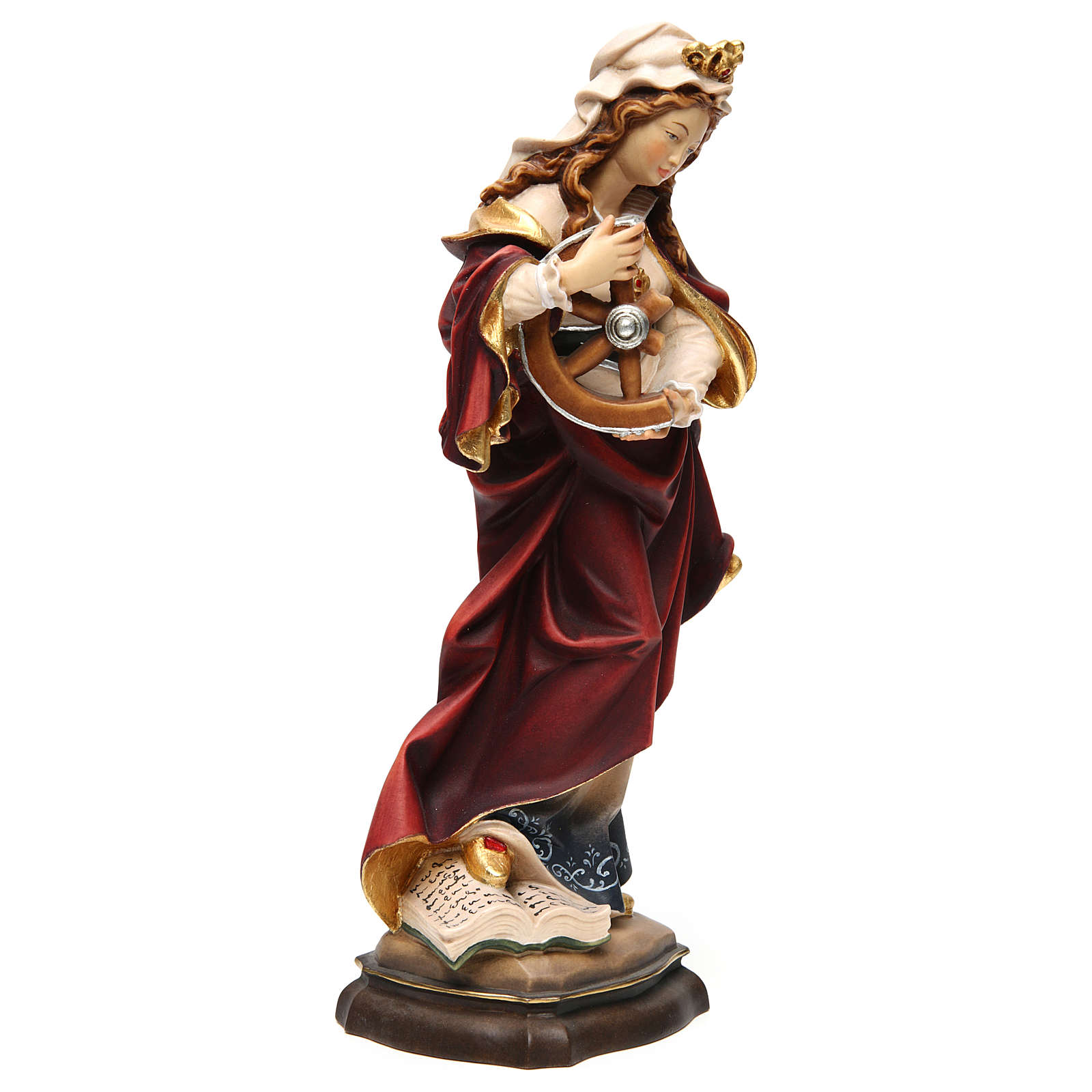 Painted statue in wood Saint Catherine, Val Gardena 4