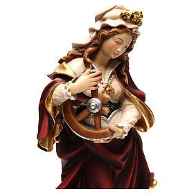 Santa Catarina pintada madeira bordo Val Gardena