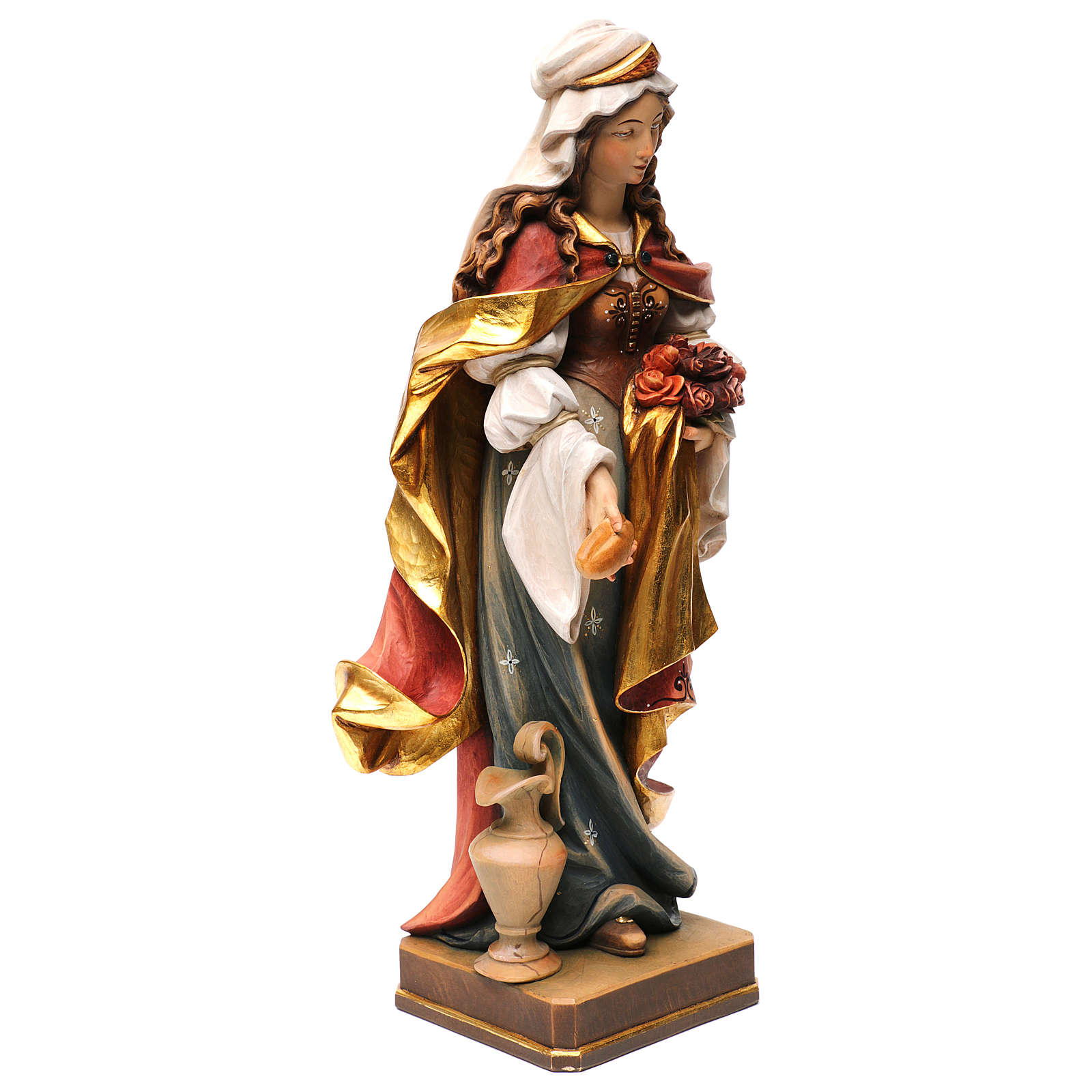 Sainte Elisabeth avec pain peinte bois érable Val Gardena 4