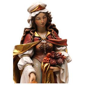 Sainte Elisabeth avec pain peinte bois érable Val Gardena s2