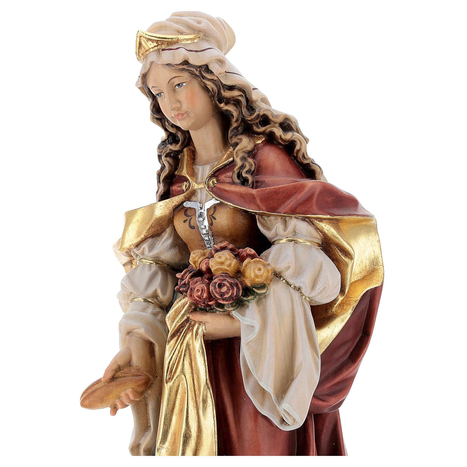 Santa Elisabetta con pane dipinta legno acero Valgardena 4