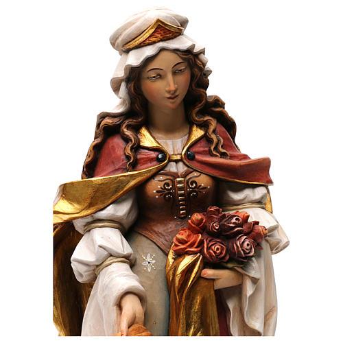 Santa Elisabetta con pane dipinta legno acero Valgardena 2