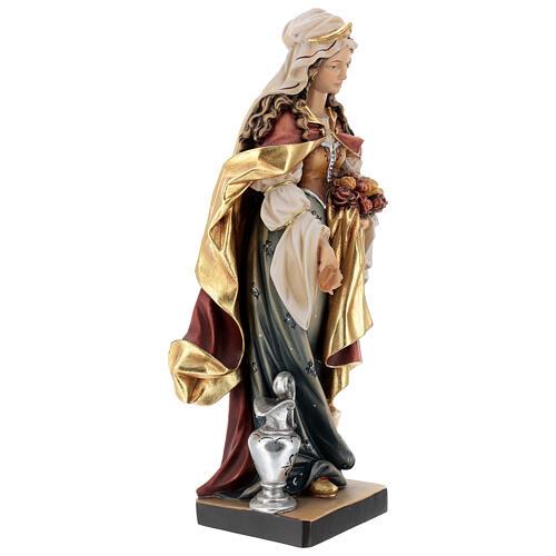 Santa Elisabetta con pane dipinta legno acero Valgardena 5