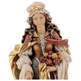 Santa Isabel com pão pintada madeira bordo Val Gardena s2