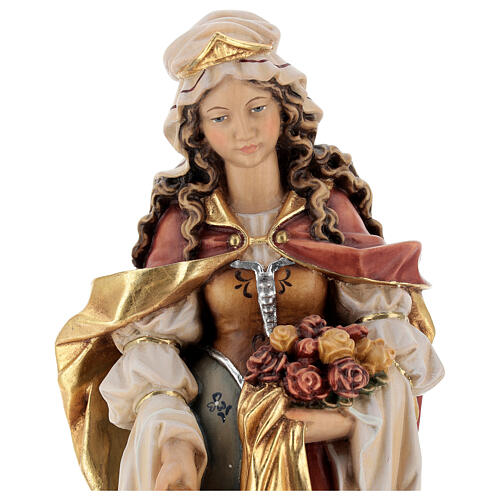 Santa Isabel com pão pintada madeira bordo Val Gardena 2