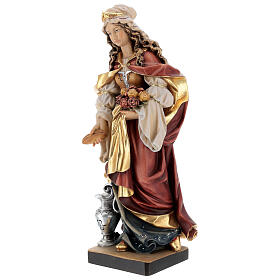 Painted statue in wood Saint Elizabeth with bread, Val Gardena s4