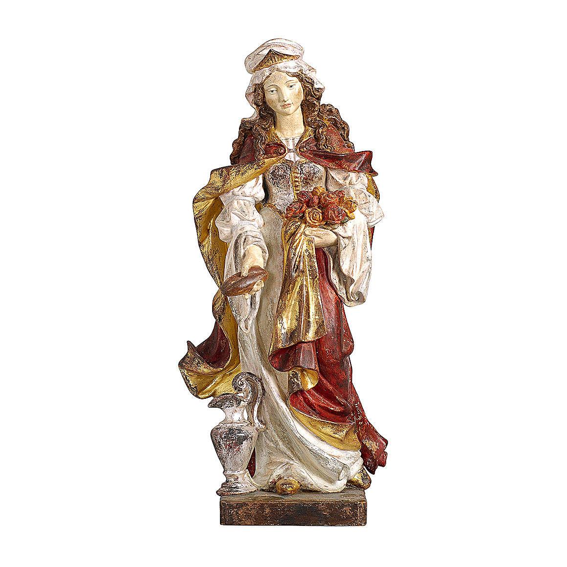 Santa Elisabetta con pane oro zecchino antico legno acero Valgardena 4