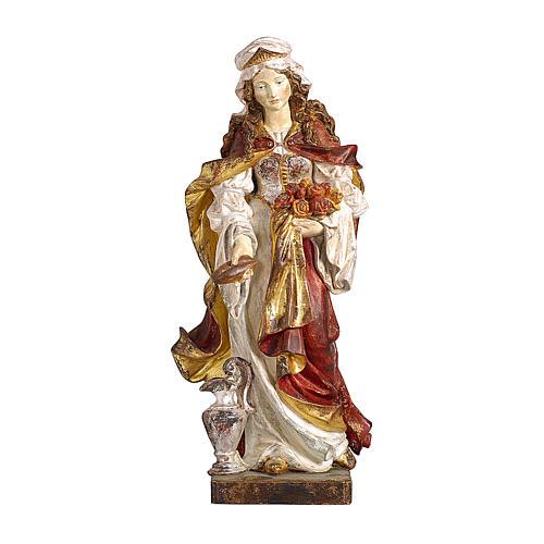 Santa Elisabetta con pane oro zecchino antico legno acero Valgardena 1