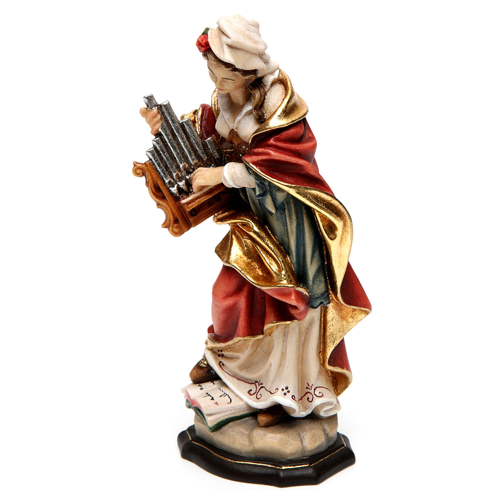 Painted statue in wood Saint Cecilia, Val Gardena 4