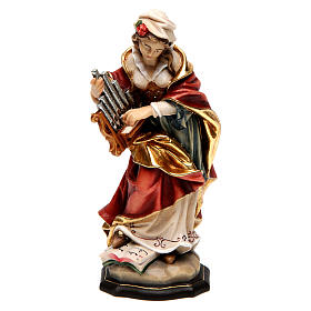 Hand painted wooden statues: Painted statue in wood Saint Cecilia, Val Gardena