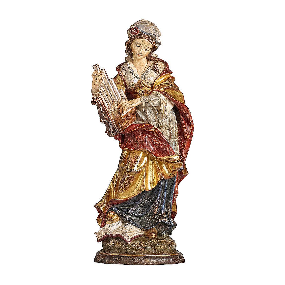 Santa Cecilia manto oro zecchino legno acero Valgardena 4