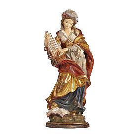 Santa Cecilia manto oro zecchino legno acero Valgardena s1