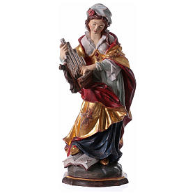 Hand painted wooden statues: Painted statue in wood Saint Cecilia with golden details, Val Gardena