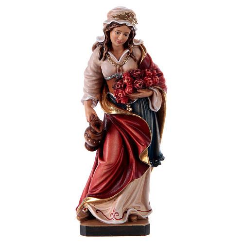 Painted statue in wood Saint Elizabeth, Val Gardena 1