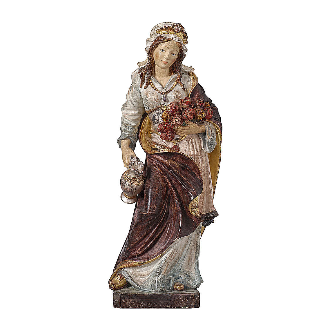 Santa Elisabetta oro zecchino antico legno acero Valgardena 4