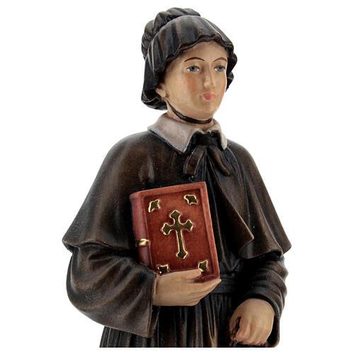 Santa Elisabetta Anna Seton dipinta legno acero Valgardena 2