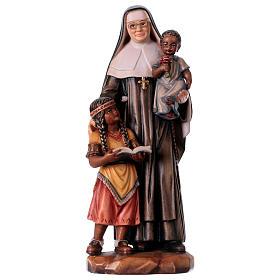 Statues en bois peint: Sainte Catherine Drexel peinte bois érable Val Gardena