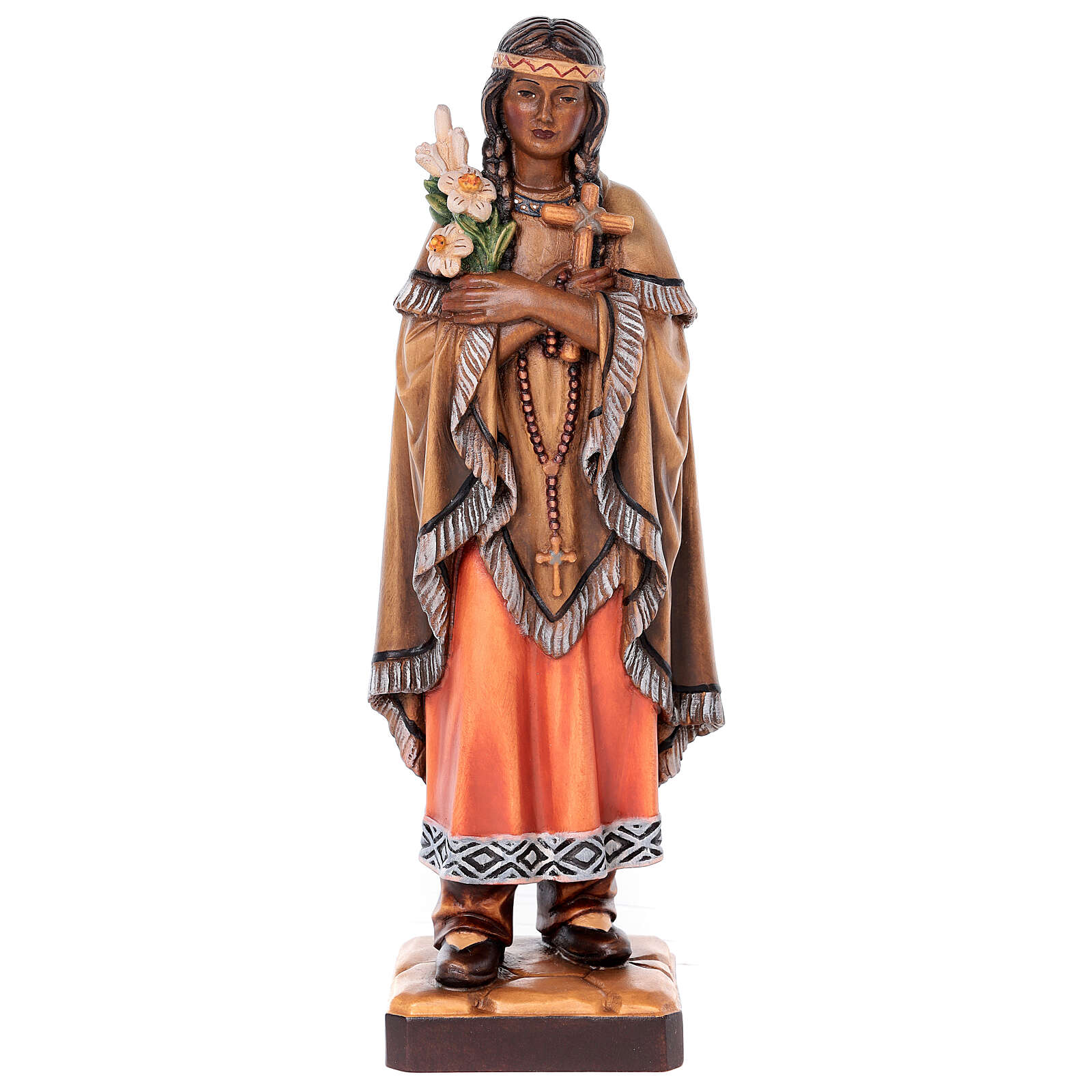 Saint Kateri Tekakwitha in painted maple wood of Valgardena 4