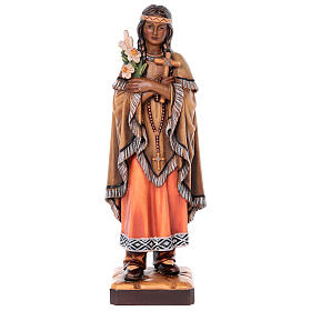 Saint Kateri Tekakwitha in painted maple wood of Valgardena s1