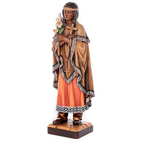 Saint Kateri Tekakwitha in painted maple wood of Valgardena s3