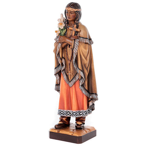 Saint Kateri Tekakwitha in painted maple wood of Valgardena 3