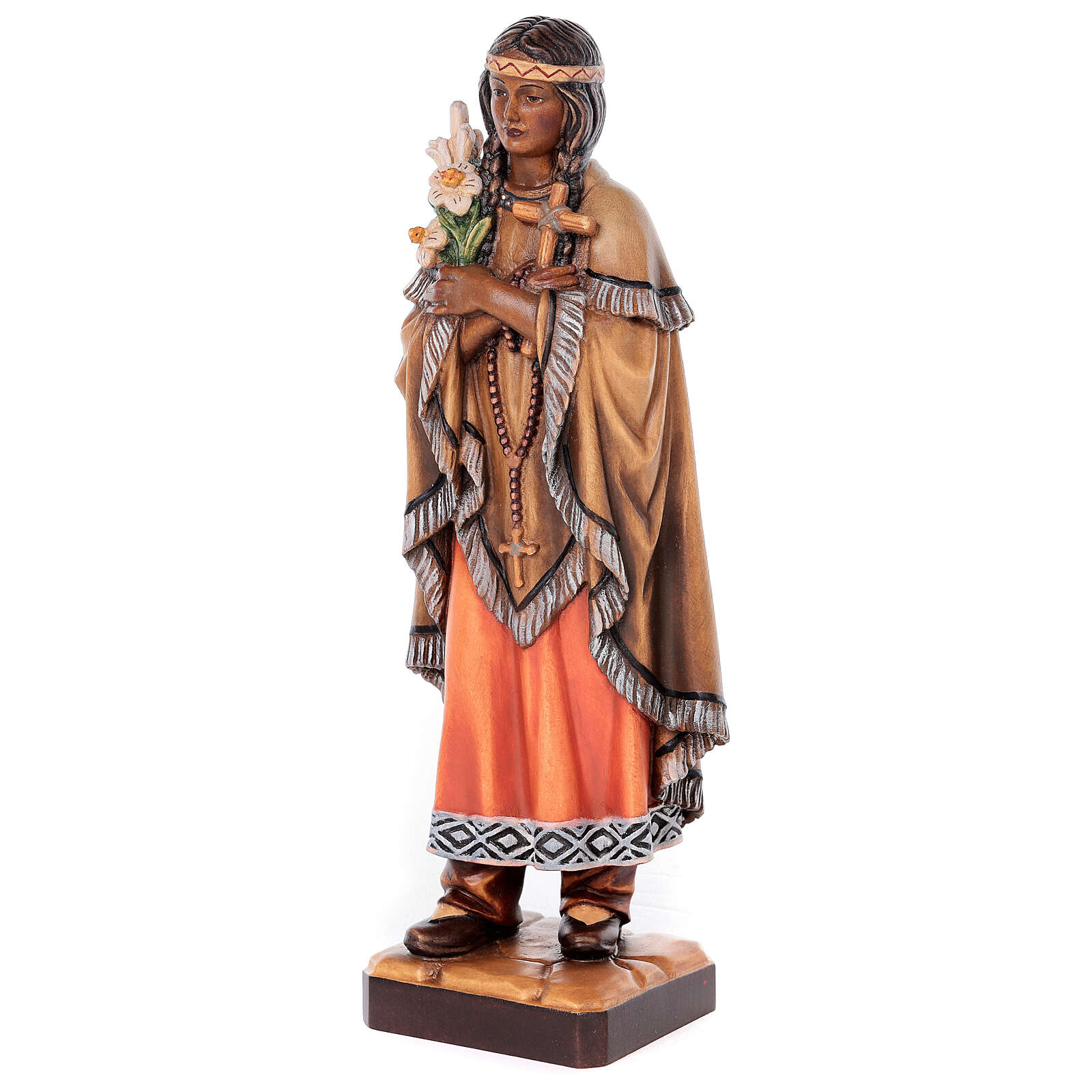 Sainte Kateri Tekakwitha peinte bois érable Val Gardena 4
