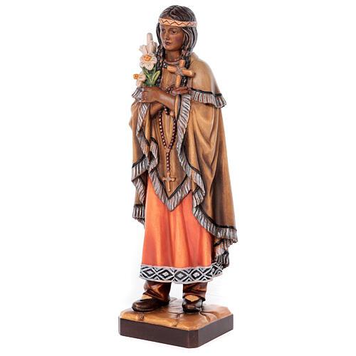 Sainte Kateri Tekakwitha peinte bois érable Val Gardena 3