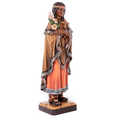 Santa Caterina Tekakwitha dipinta legno acero Valgardena 4