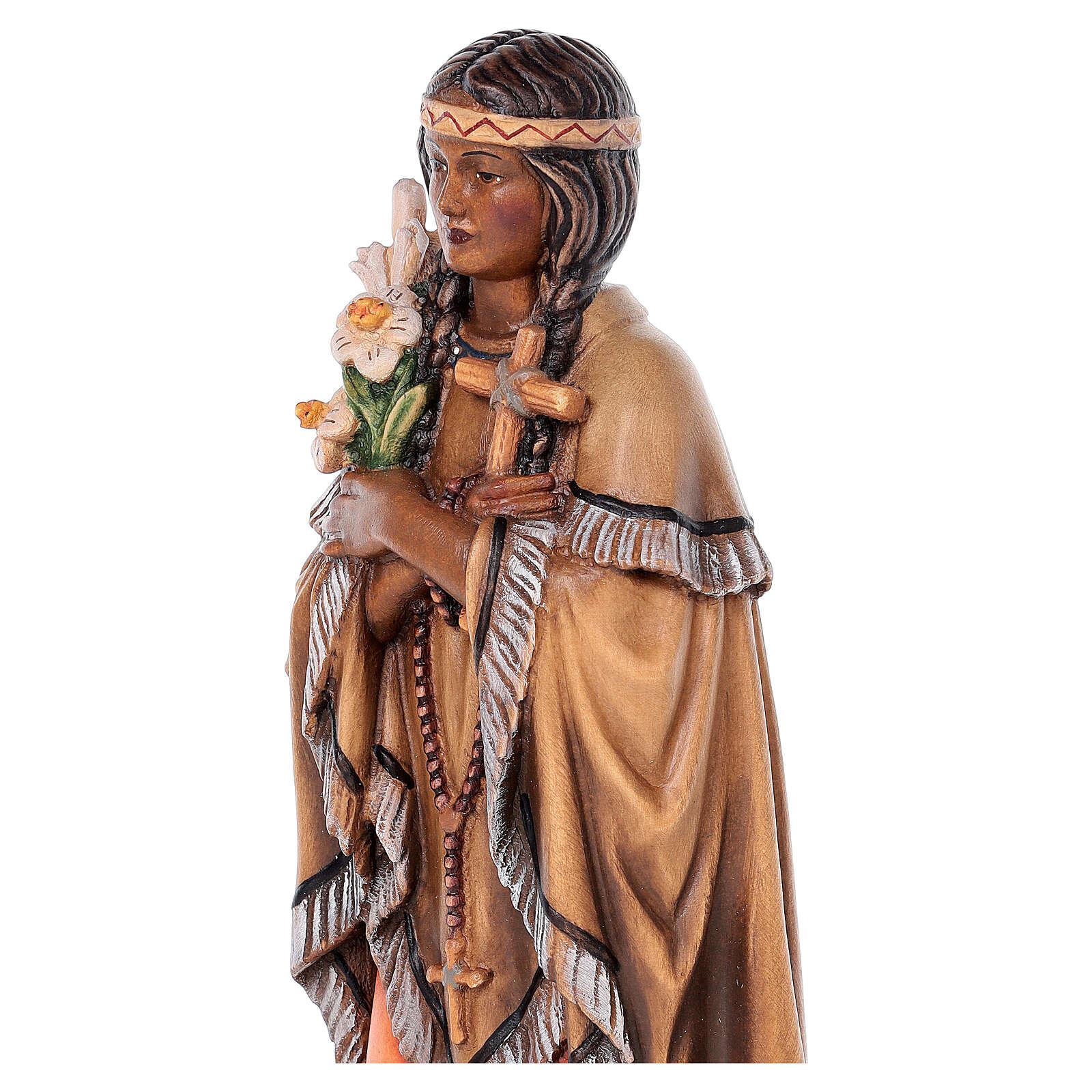 Saint Kateri Tekakwitha in painted maple wood of Valgardena 4