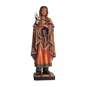Hand painted wooden statues: Saint Kateri Tekakwitha in painted maple wood of Valgardena