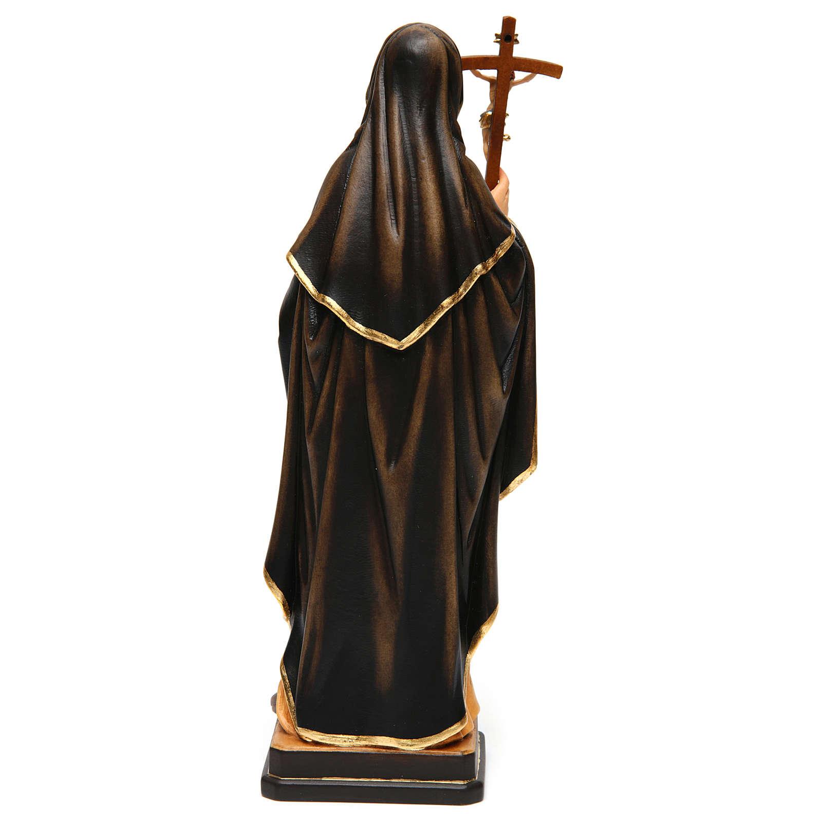 Sainte Monique avec croix bois peint Val Gardena 4