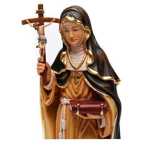 Sainte Monique avec croix bois peint Val Gardena 2