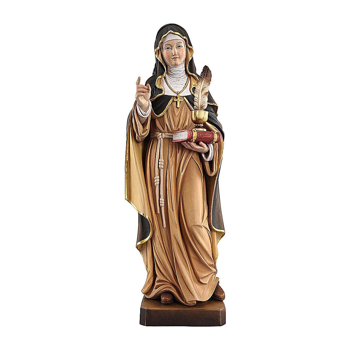 Santa Gertrude con penna dipinta legno acero Valgardena 4