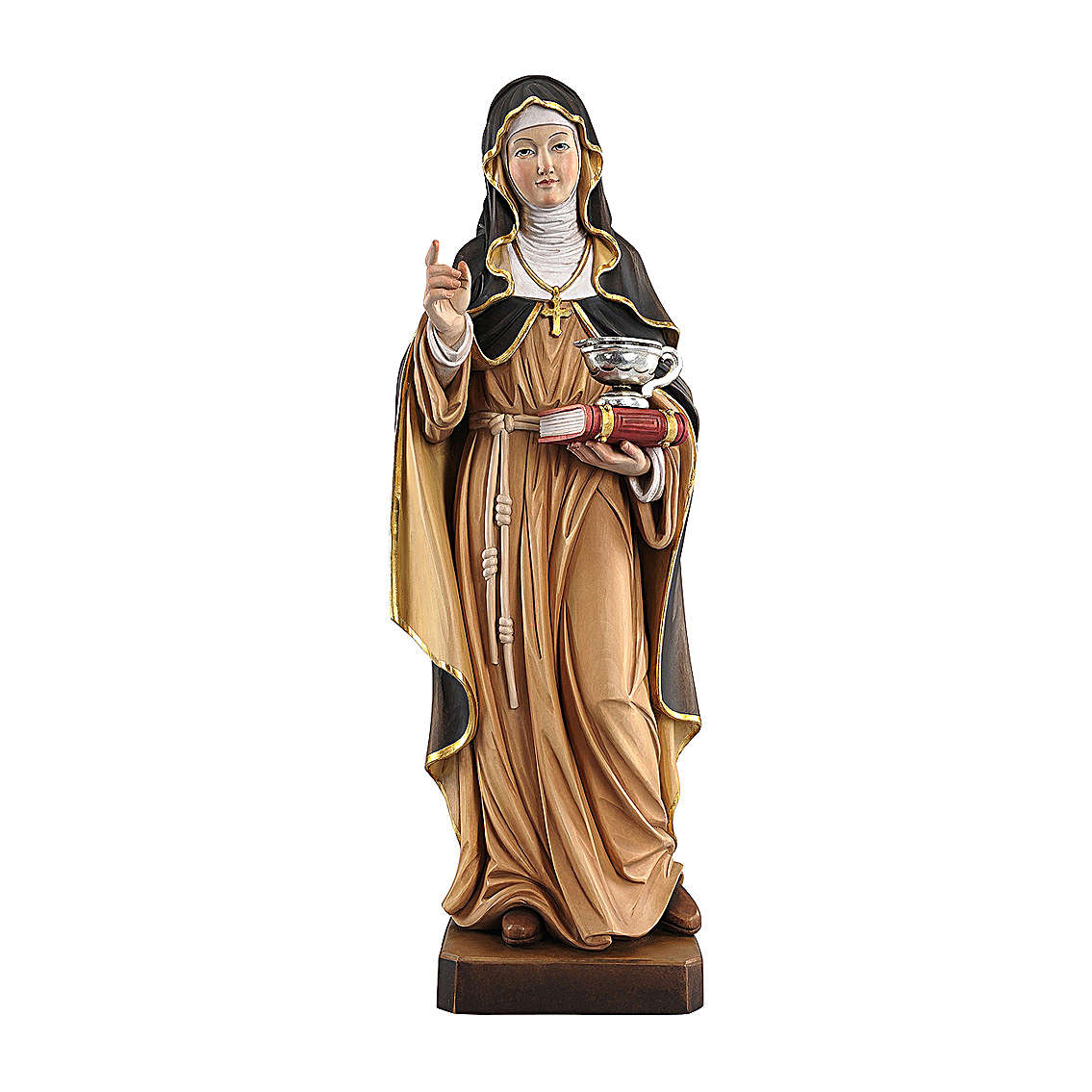 Saint Hildegard with vase painted in maple wood of Valgardena 4