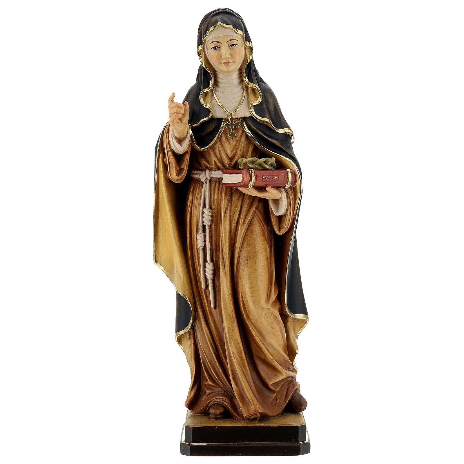 Saint Teresa of Ávila with crown of thorns in painted wood Valgardena 4