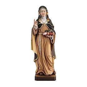 Statues en bois peint: Sainte Thérèse d'Avila avec couronne d'épines bois peint Val Gardena