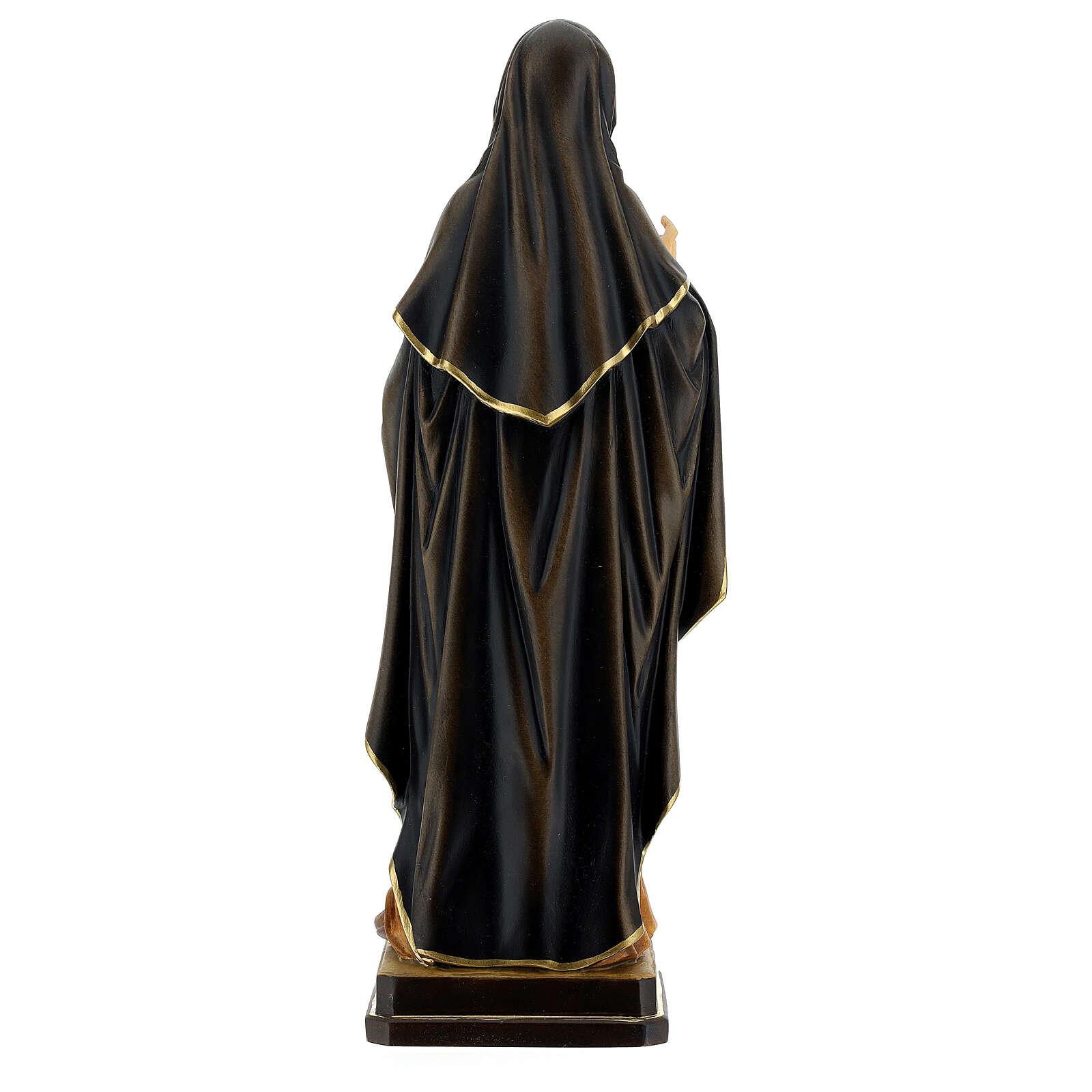 Santa Teresa d'Avila con corona di spine dipinta legno Valgardena 4