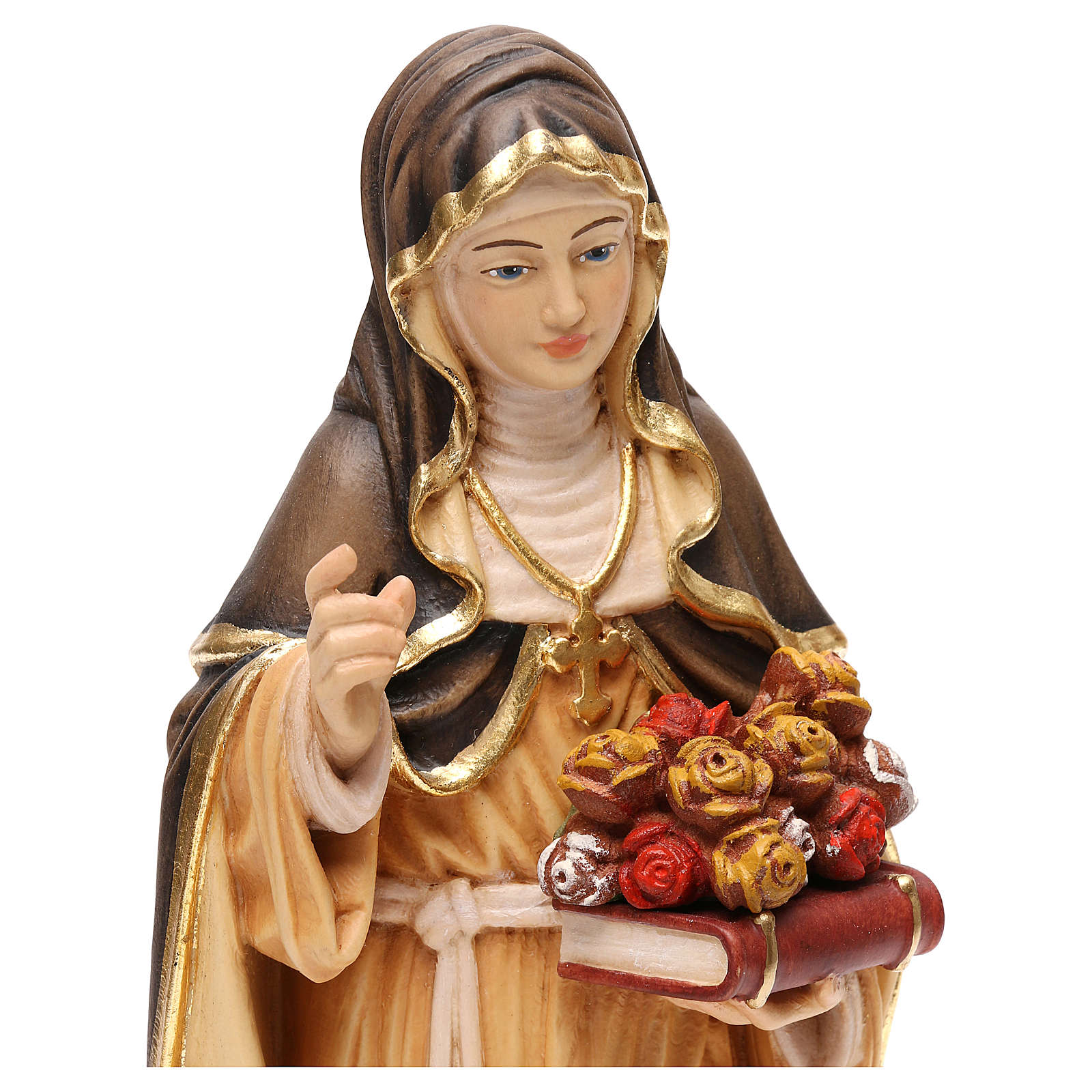 Saint Rose of Lima in painted maple wood Valgardena 4