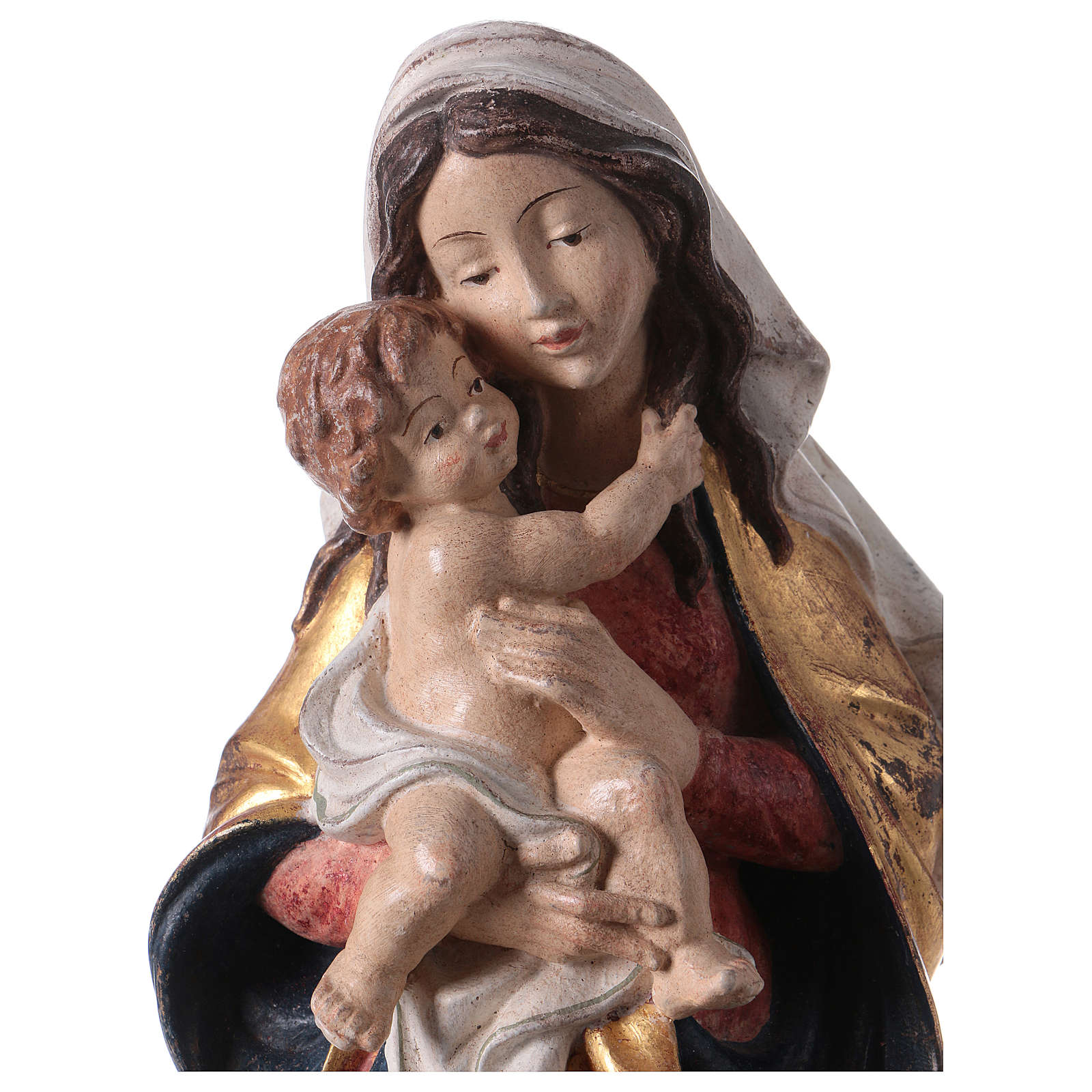 Our Lady of Peace statue in wood of Valgardena with mantle finished in pure gold 4