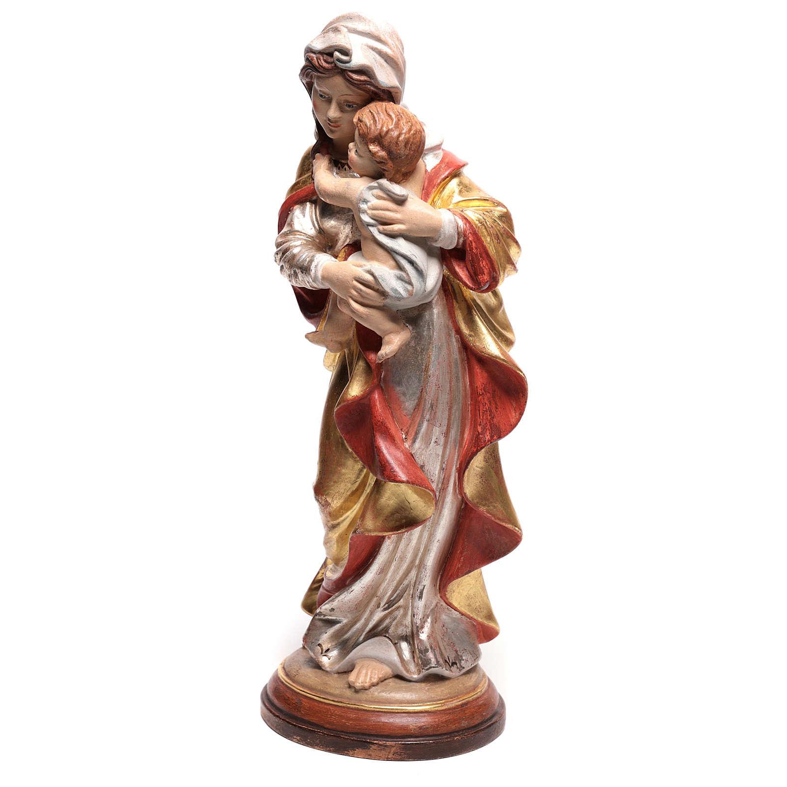Vierge Raphaël bois Val Gardena or massif tunique argentée 4